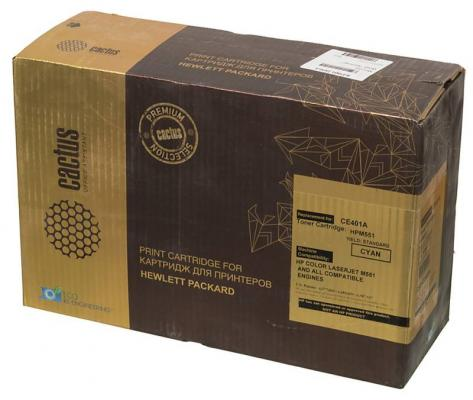 Тонер-картридж Cactus CSP-CE401A Premium для HP CLJ Color M551 голубой 6000стр картридж cactus cs ce401a cyan for hp clj color m551