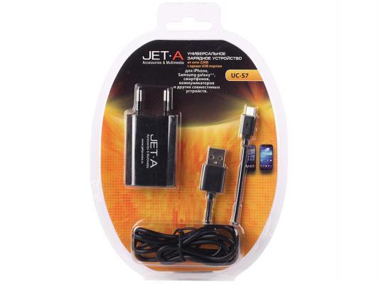Сетевое зарядное устройство Jet.A UC-S7 microUSB 1A черный
