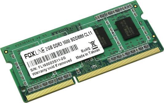 Оперативная память для ноутбуков 2Gb PC3-12800 1600MHz DDR3 DIMM Foxline FL1600D3S11-2G CL11