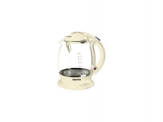 Чайник Marta MT-1036 — бежевый — пластик/стекло
