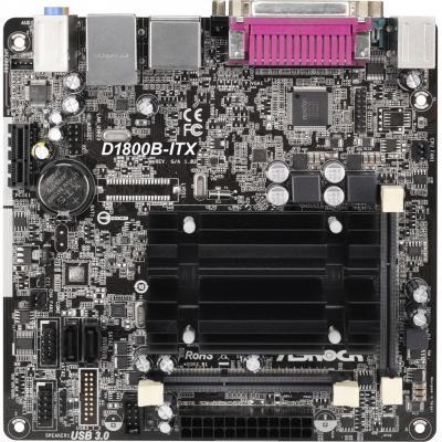 Мат. плата для ПК ASRock D1800B-ITX с процессором Intel J1800 2xDDR3 1xPCI-E 1x 2xSATA II mini-ITX Retail