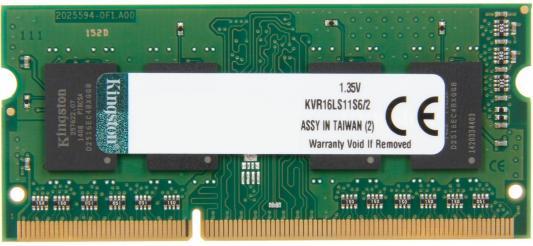 Оперативная память для ноутбуков SO-DDR3 2Gb PC12800 1600MHz Kingston KVR16S11S6/2 оперативная память 2gb pc3 10600 1333mhz ddr3 dimm kingston kvr13n9s6 2