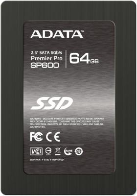 Твердотельный накопитель SSD 2.5 64GB A-Data SP600 Read 360Mb/s Write 130Mb/s SATAIII ASP600S3-64GM-C накопитель ssd a data adata ultimate su800 512gb asu800ss 512gt c