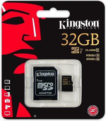 Карта памяти Micro SDHC 32Gb Class 10 Kingston SDCA10/32GB + адаптер SD