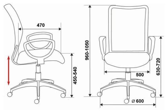 Кресло Buro CH-599/R/TW-97N спинка сетка красный TW-35N сиденье красный TW-97N кресло бюрократ ch 200nx на колесиках ткань красный [ch 200nx tw 97n]