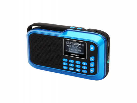 цена на Портативное акустика SUPRA PAS-3909 blue 3 Вт/линейный (разъем mini jack)/SD/USB Type A (для флэшки)