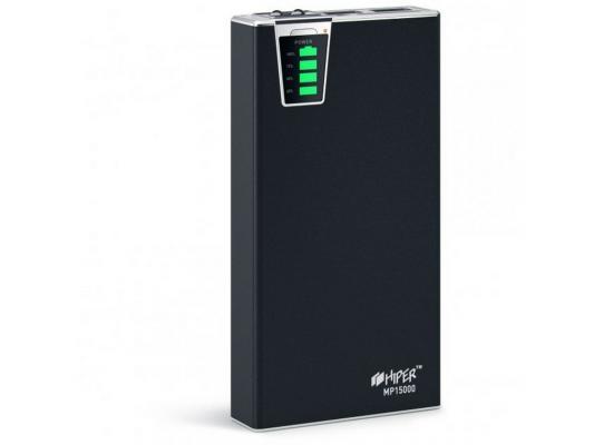 Портативное зарядное устройство Hiper Power MP15000 15000мАч 2xUSB 2.1/1А картридер SD фонарик
