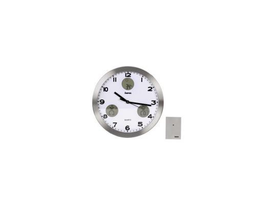 Часы Hama H-113982 AG-300 настенные аналоговые с метеостанцией серебристый hama h 57151