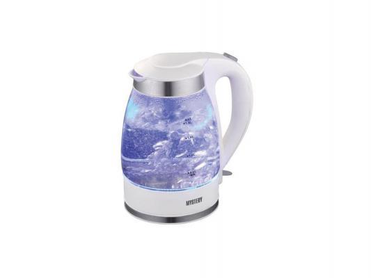 Чайник MYSTERY MEK-1627 2000 Вт 1.8 л пластик/стекло белый чайник mystery mek 1633 2000 вт 1 7 л нержавеющая сталь серебристый