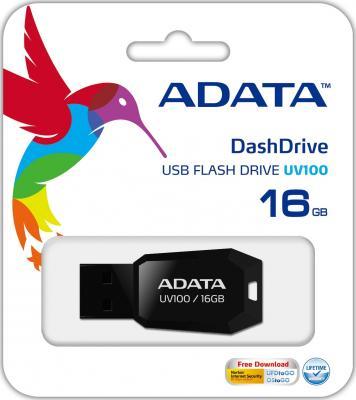 Флешка USB 16Gb A-Data UV100 AUV100-16G-RBK черный a data 16gb uv100 синий auv100 16g rbl