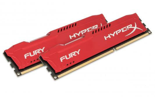 Оперативная память 16Gb (2x8Gb) PC3-15000 1866MHz DDR3 DIMM CL10 Kingston HX318C10FRK2/16 HyperX FURY Red Series модуль памяти kingston hyperx fury white series pc3 15000 dimm ddr3 1866mhz cl10 16gb kit 2x8gb hx318c10fwk2 16