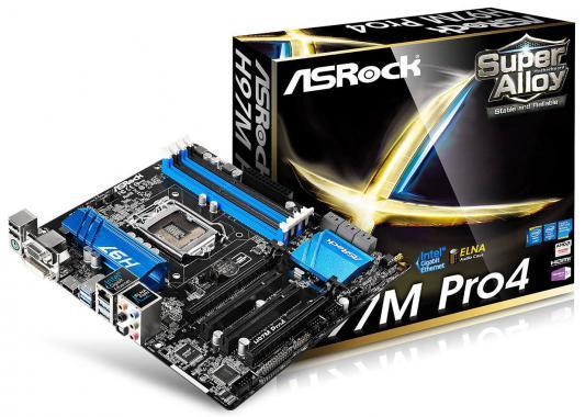 Материнская плата ASRock H97M Pro4 Socket1150 Intel H97 4xDDR3 2xPCI-E x16 2xPCI 6xSATAIII Raid 7.1 Sound Glan D-Sub DVI HDMI mATX Retail