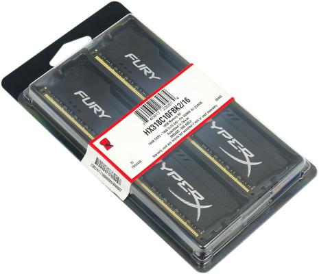 Память DDR3 16Gb (pc-15000) 1866MHz Kingston HyperX Fury Black Series CL10 Kit of 2 <Retail> (HX318C10FBK2/16) usb flash накопитель 128gb kingston hyperx hxs3 128gb usb3 1 черный