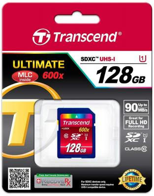 Карта памяти SDXC 128GB Class 10 Transcend TS128GSDXC10U1 usb flash накопитель 128gb kingston hyperx hxs3 128gb usb3 1 черный