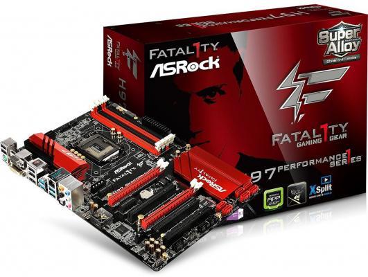 Материнская плата ASRock H97 Performance Fatal1ty Socket1150 Intel H97 4xDDR3 2xPCI-E x16 2xPCI-E x1 3xPCI 6xSATAIII ATX Retail