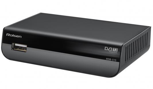 Тюнер цифровой DVB-T2 Rolsen RDB-515 черный