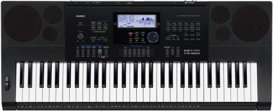 лучшая цена Синтезатор Casio CTK-6200 61 клавиша USB AUX SD черный