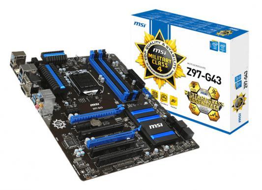 Материнская плата MSI Z97-G43 Socket1150 Intel Z97 4xDDR3 2xPCI-E x16 2xPCI-E x1 3xPCI 6xSATAIII 7.1 Sound Glan ATX Retail