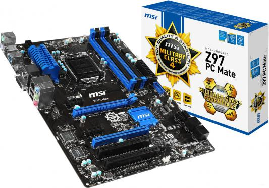 Мат. плата для ПК MSI H97 PC Mate Socket 1150 H97 4xDDR3 2xPCI-E 16x 2xPCI 2xPCI-E 1x 6xSATAIII ATX Retail