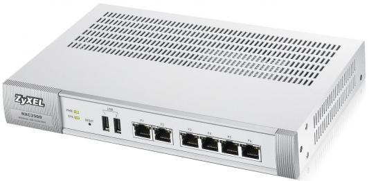 Контроллер беспроводных сетей Zyxel NXC2500 10/100/1000BASE-T 2xUSB 6xRJ-45 RS-232 серебристый сетевой экран zyxel usg 40 usg40 ru0101f 10 100 1000base tx