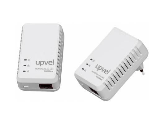 Комплект Powerline адаптеров Upvel UA-251PK HomePlug AV 500 Мбит/с с поддержкой IP-TV 1LAN порт powerline адаптер upvel ua 251p powerline адаптер homeplug av 500 мбит с с поддержкой ip tv 1 lan порт