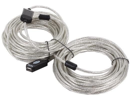 Кабель удлинительный  USB 2.0 AM-AF 20м VCOM Telecom активный VUS7049 предотвращающий затухание сигнала