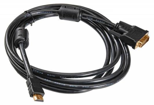 Кабель HDMI- DVI-D 3.0м Buro позолоченные контакты ферритовые кольца HDMI-19M-DVI-D-3M 817225