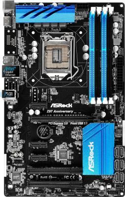 Материнская плата для ПК ASRock Z97 Anniversary Socket 1150 Z97 4xDDR3 1xPCI-E 16x 2xPCI 3xPCI-E 1x 6xSATAIII ATX Retail