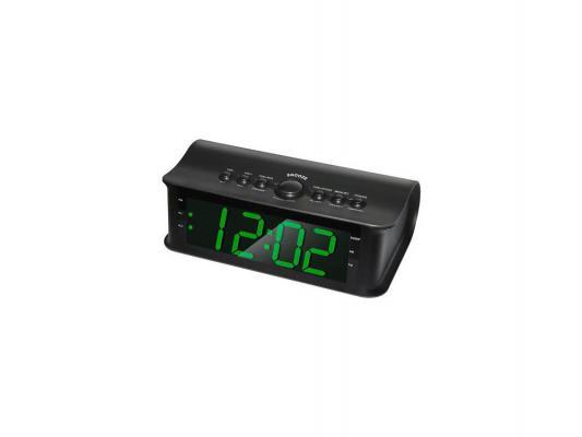 Часы с радиоприемником Rolsen CR-182 черный зеленый циферблат