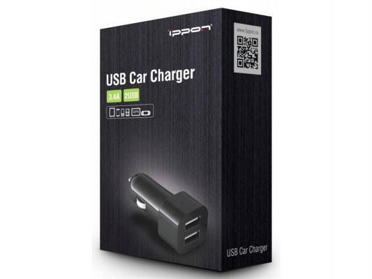 Автомобильное зарядное устройство Ippon CC323B 3.4A черный (1A+2.4А)