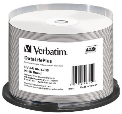Диски DVD-R Verbatim 16x 4.7Gb Cake Box 50шт Printable 43755 диски dvd r verbatim 16x 4 7gb slimcase 100шт 5x20шт 43547