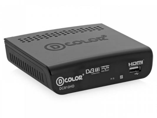 Тюнер цифровой DVB-T2 D-Color DC910HD черный ресивер d color dc910hd черный dvb t2