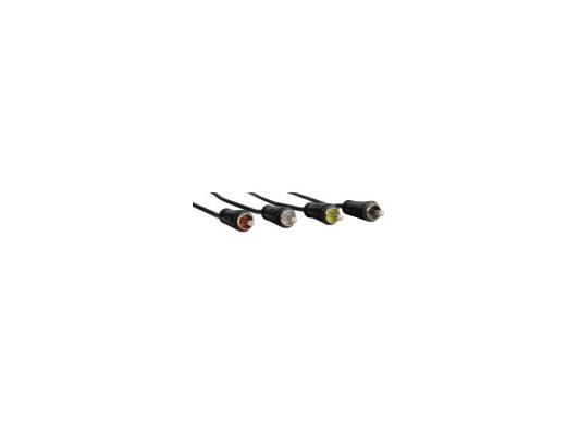 Кабель соединительный 1.2м Hama 4RCA(m)-4RCA(m) стерео черный 00122280 цена