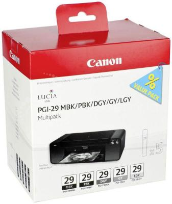 Набор картриджей Canon PGI-29 MBK/PBK/DGY/GY/LGY Multi для PRO-1 двойная упаковка картриджей canon pgi 520bk черный [2932b012]