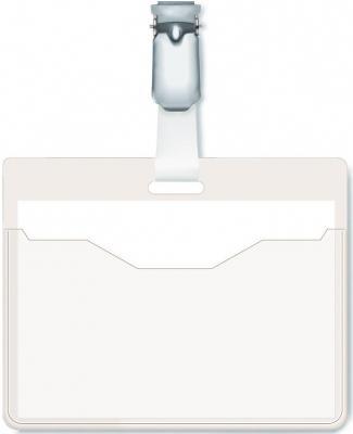 Бейдж Durable горизонтальный 90x60мм вращающийся клип 25шт 810619