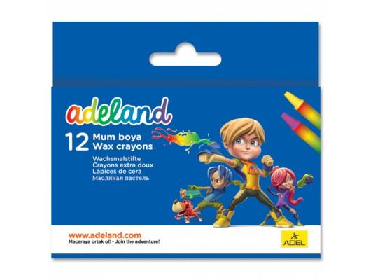 Восковые мелки Adel ADELAND круглые 10 мм 12 цветов 12 штук от 3 лет 228-2834-100