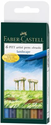 Набор капиллярных ручек Faber-Castell Pitt Artist Pen натуральные оттенки 6 шт разноцветный 167105 scribble scribble pen faber castell 25 pieces of pencil sketch sketch article carbon combination 112969