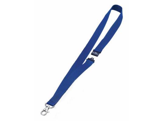Шнур текстильный для бейджей Durable 44смx20мм с боковым замком и карабином с лого синий 10шт 813707