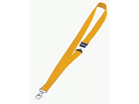 Шнур текстильный для бейджей Durable 44смx20мм с боковым замком и карабином с лого желтый 10шт 813704