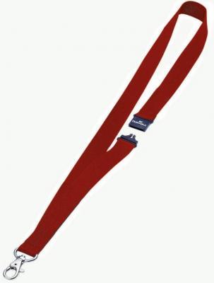 Шнур текстильный для бейджей Durable 44смx20мм с боковым замком и карабином с лого красный 10шт 813703