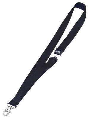 Шнур текстильный для бейджей Durable 44смx20мм с боковым замком и карабином с лого черный 10шт 813701