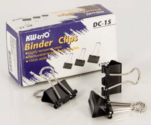 Зажим для бумаг KW-trio DC-15 12 шт 15 мм черный все цены