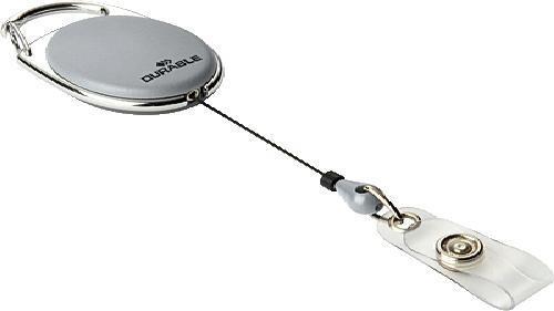 Рулеточный крепеж для бейджа Durable овальный с карабином и креплением серый 10шт 832410