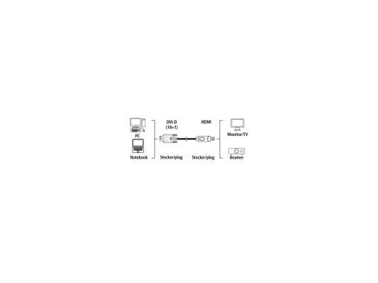 Кабель HDMI-DVI/D 1.8м позолоченные штекеры ферритовый фильтр черный H-54533 переходник ningbo hdmi m dvi d f позолоченные контакты черный cab nin hdmi m dvi d f
