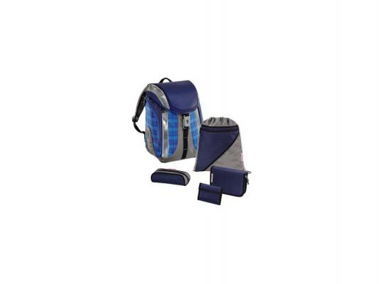 Ранец ортопедический Hama Step by Step Ultra Blue Сhecked Flexline с наполнением 5 предметов 18 л синий голубой Н-103149