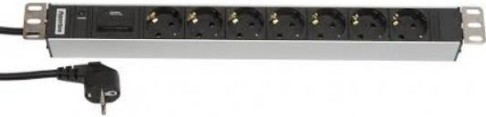 Блок розеток Hyperline SHT19-7SH-IF-2.5EU черный серебристый 7 розеток 2.5 блок розеток hyperline sht19 6sh s 2 5eu черный 6 розеток 2 5