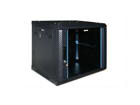 """Шкаф настенный 19"""" 9U Hyperline TWFS-0966-GP-RAL9004 500x600х600 стеклянная дверь с перфрацией по бокам ручка с замком черный разобранный"""
