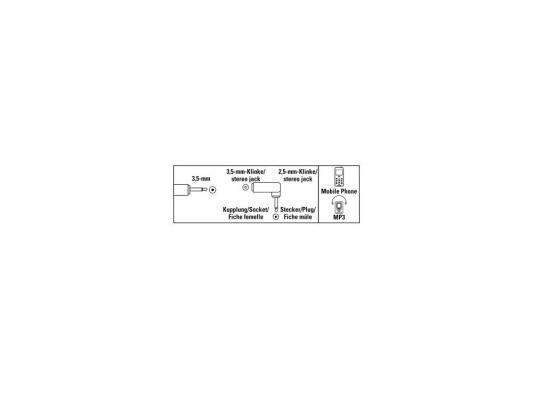 Адаптер Hama Jack 3.5 (F) -Jack 2.5 (M) стерео поворотный штекер черный 00122390