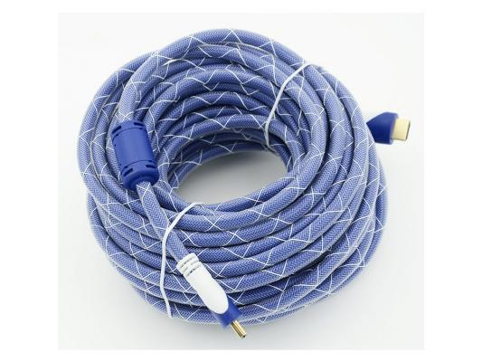 Кабель HDMI 15.0м Gembird Ver.1.4 Blue/white jack ферритовые кольца позолоченные контакты 794320 кабель hdmi 3 0м gembird ver 1 4 blue jack ферритовые кольца позолоченные контакты