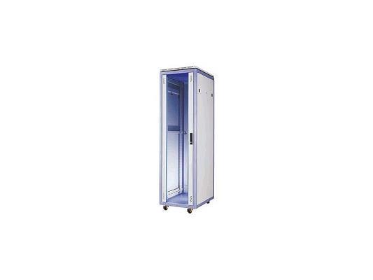 """Шкаф напольный 19"""" 42U Estap Universal Line CKR42U66GF1R2 600x600mm передняя дверь одностворчатая стекло с металлической рамой слева и справа задняя дверь одностворчатая металлическая с щеточными кабельными вводами серый"""